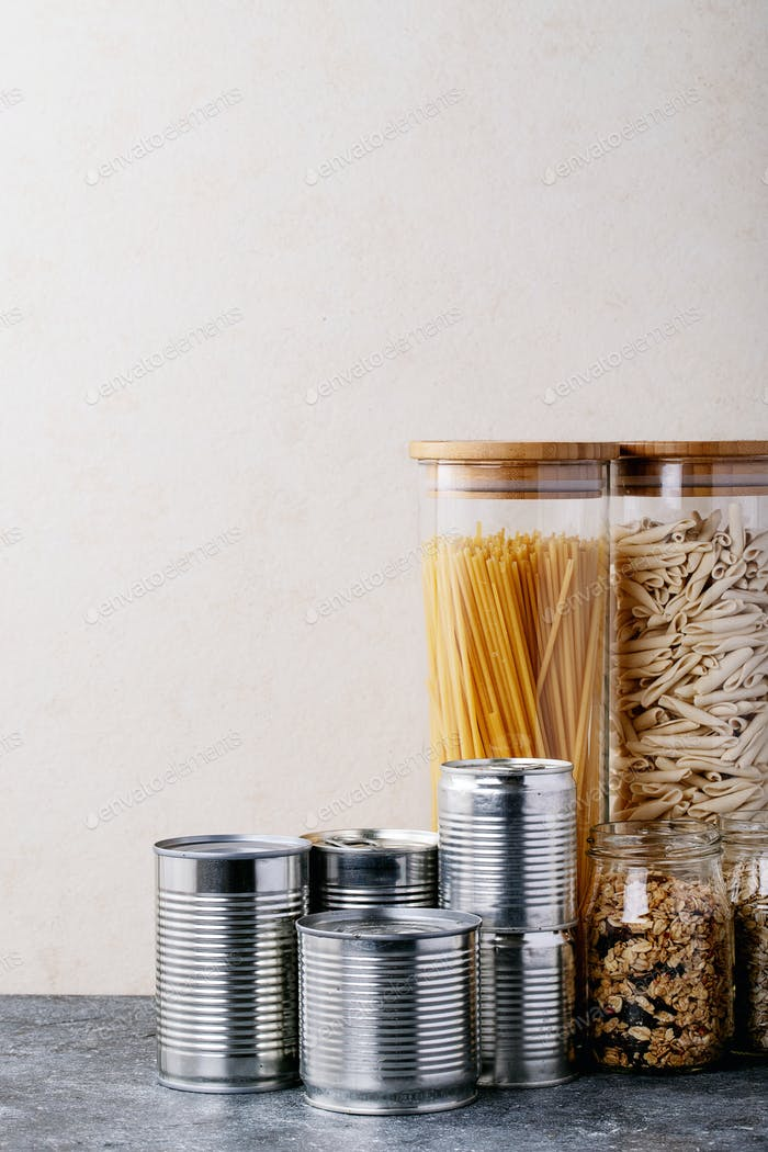 Canned food in metal cans