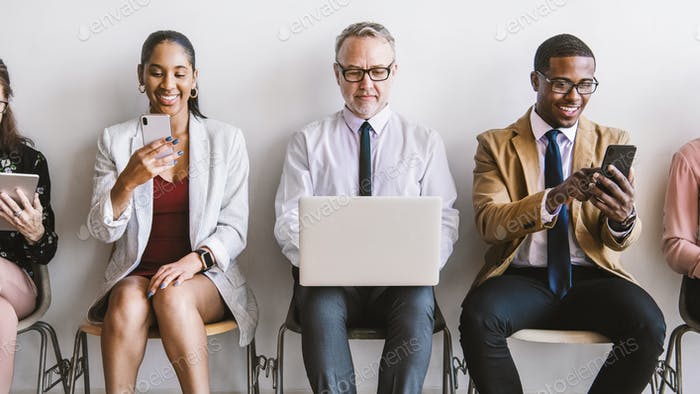 Business team with different devices