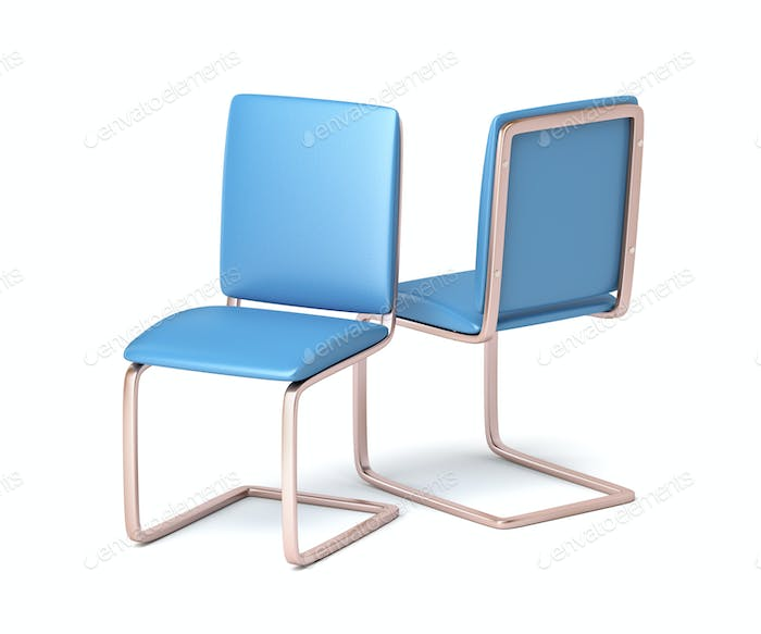 Modern blue leather chairs