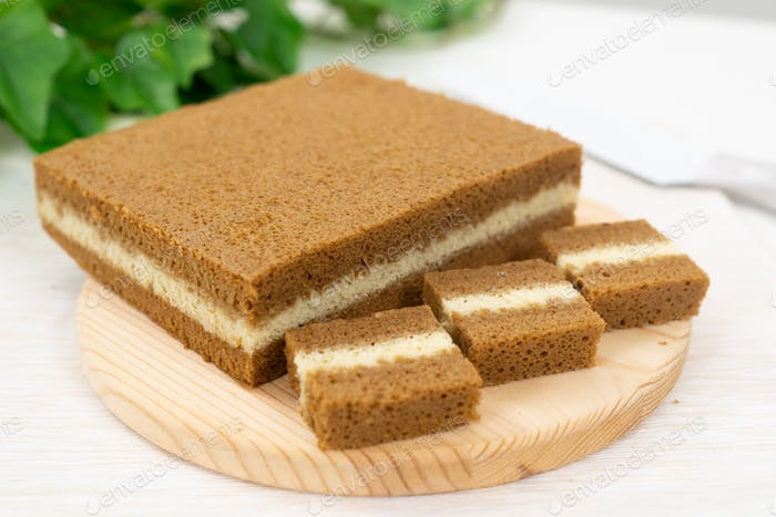 Southeast Asia three layers steamed coffee cake