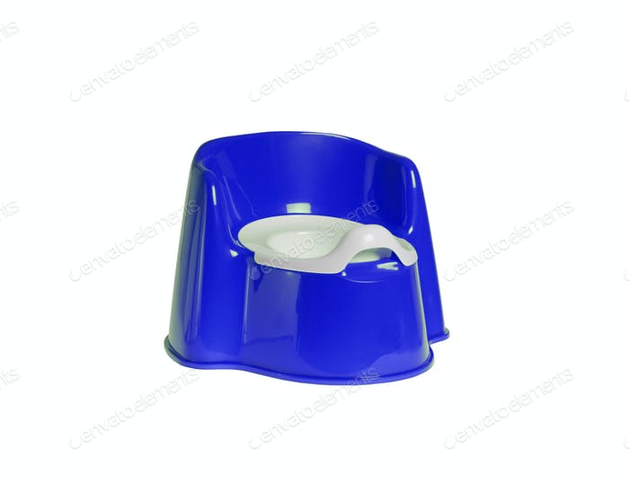 Children's blue chamber-pot isolated on white