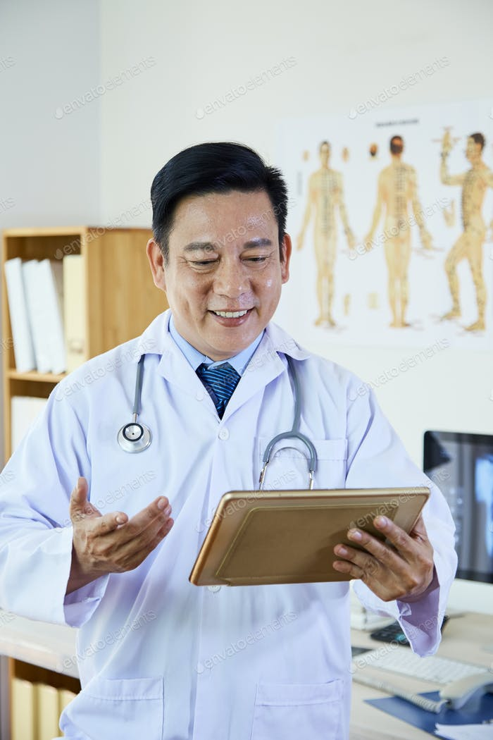 Medical Worker Using Video Call