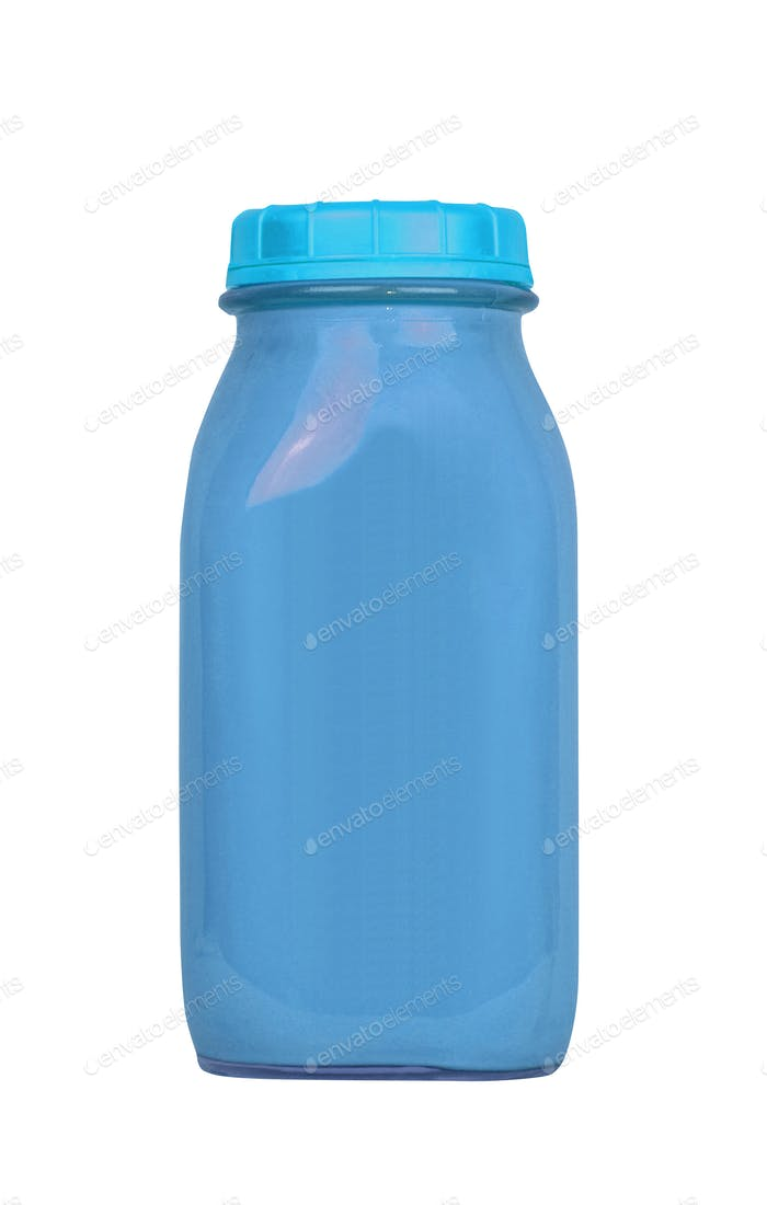 the bottle blue color packaging isolated on white background