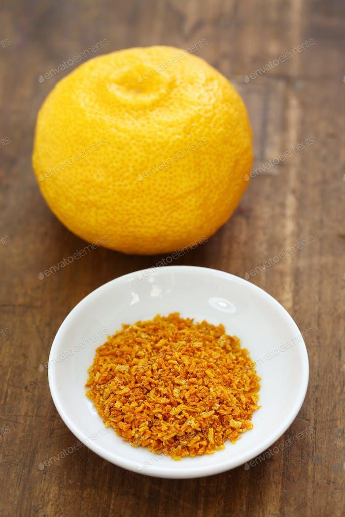 homemade dried Yuzu( Japanese aromatic citrus) zest