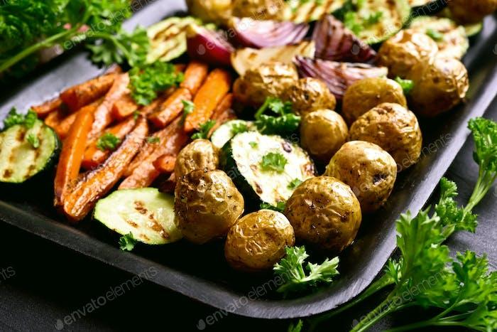 Fried vegetables, close up