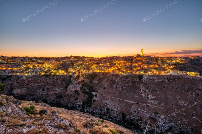 View of the beautiful old town of Matera