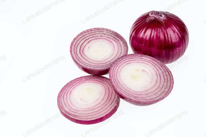 purple onions isolated