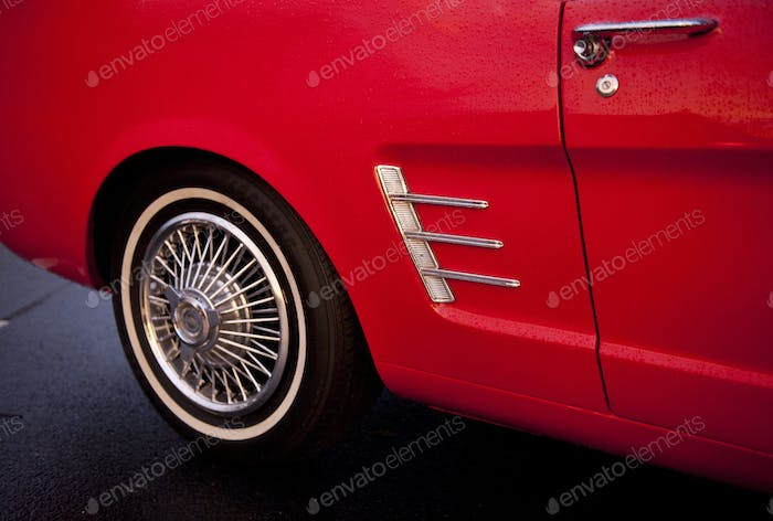 Vintage Red Car Detail