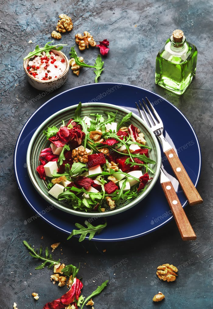 Arugula, Beet and cheese salad