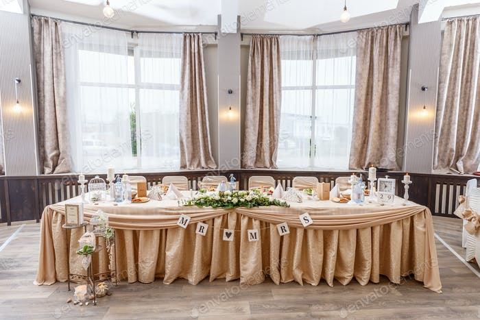 Festive table for the bride and groom