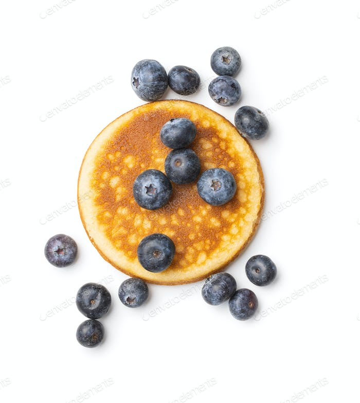 Sweet homemade pancakes and blueberries.