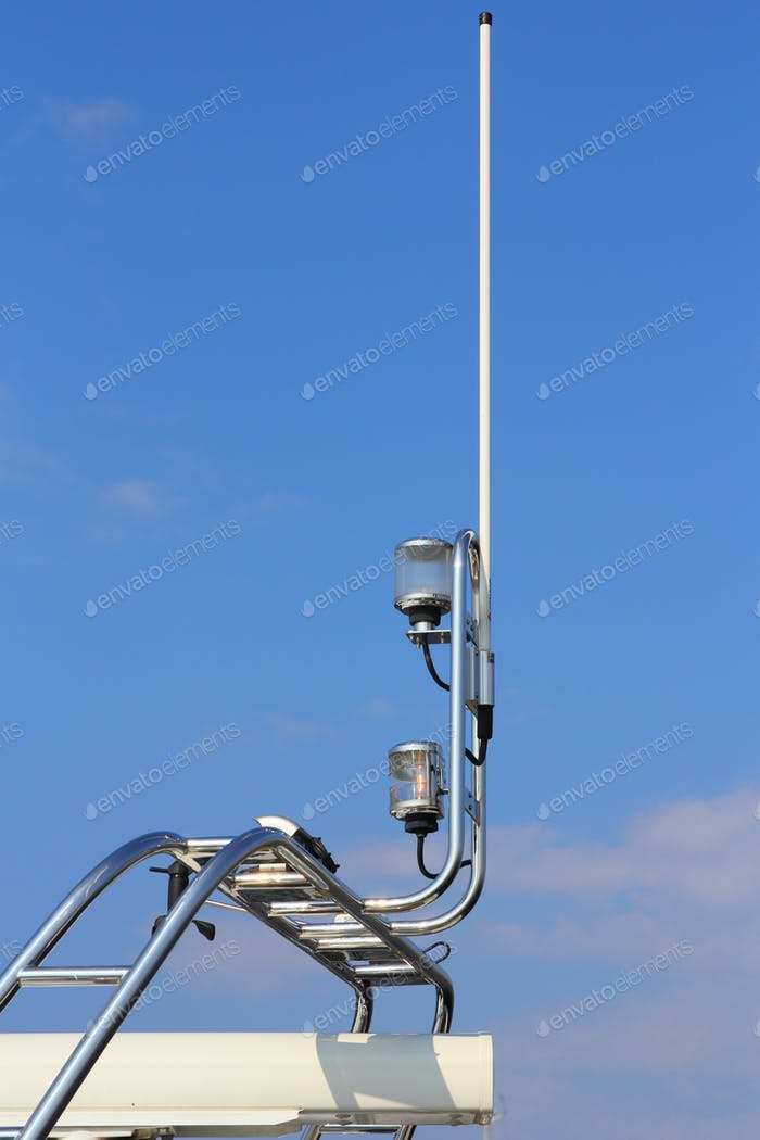 Navigation equipment on luxury boat in the sky