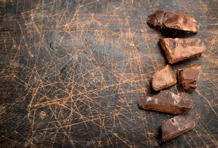 Pieces of dark chocolate.