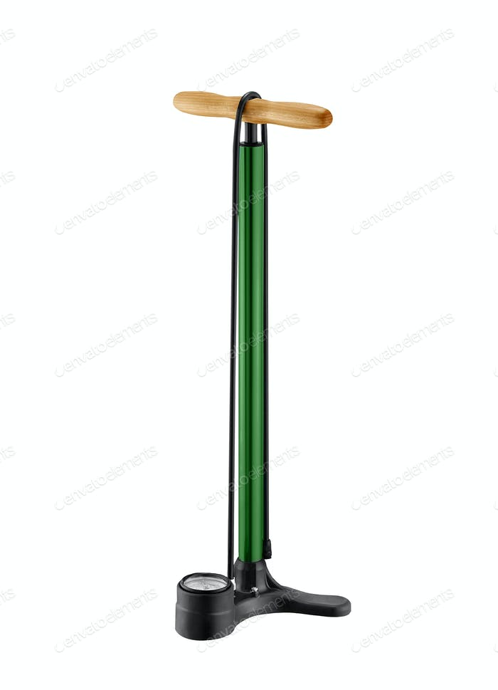 Bicycle Hand and Foot Air Pump with Manometer; on white