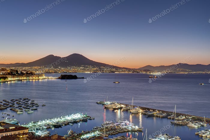 View over the Gulf of Naples at dawn