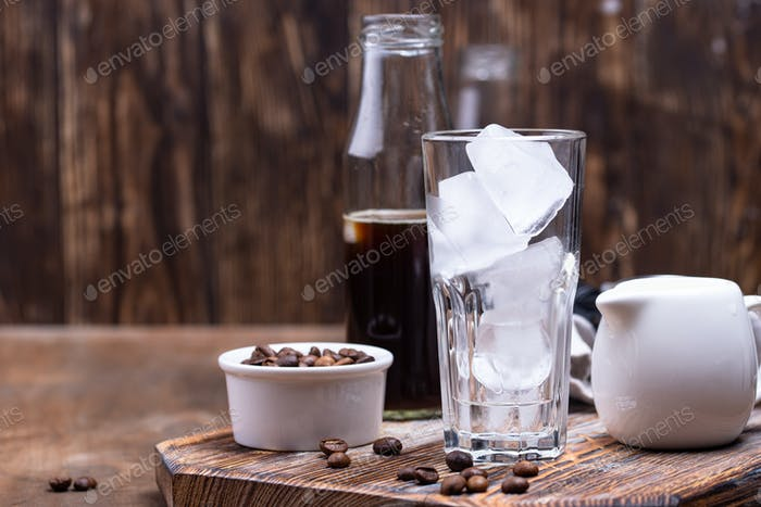 Glass with ice for cold brew coffee
