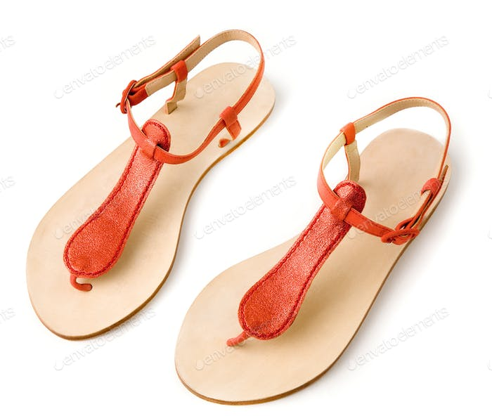 Red metallized leather flip flop sandals
