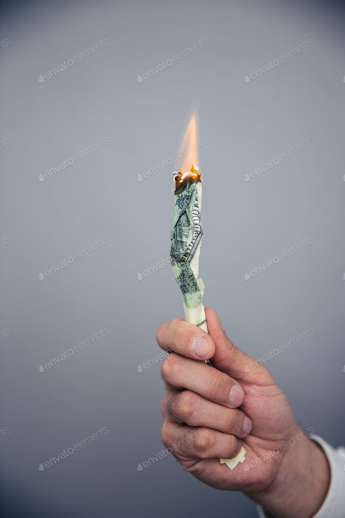 Male hand holding a burning US dollar bill