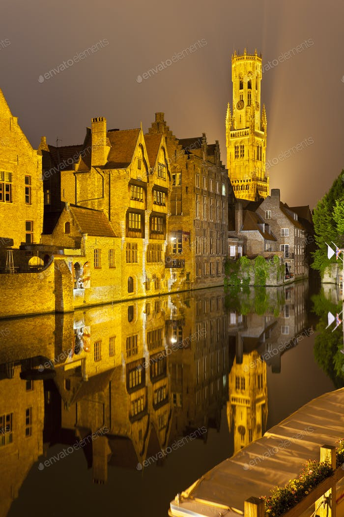 Rozenhoedkaai In Bruges At Night