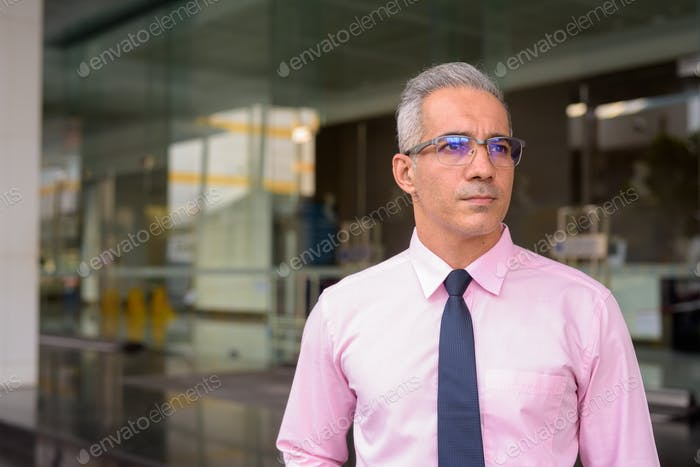 Handsome Persian businessman with gray hair outside modern building