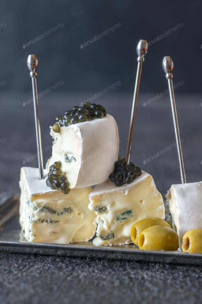 White and blue mold cheese with black caviar