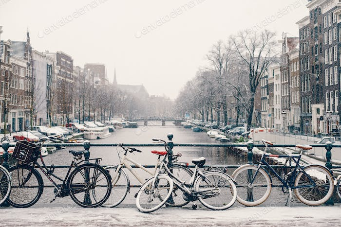 bicycle parked on the streets of amsterdam