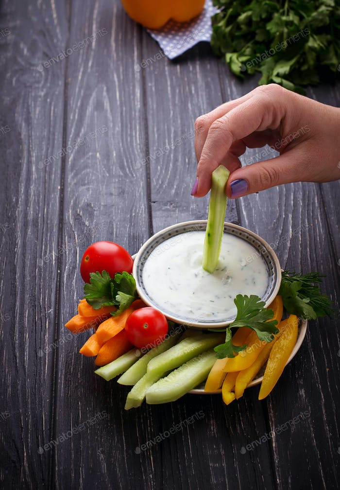 Fresh vegetables stick and yogurt dip