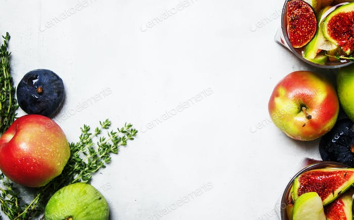 Fruit cocktail with wine, pears, apples and figs
