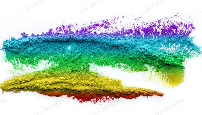 Rainbow holi powder splatted on white background