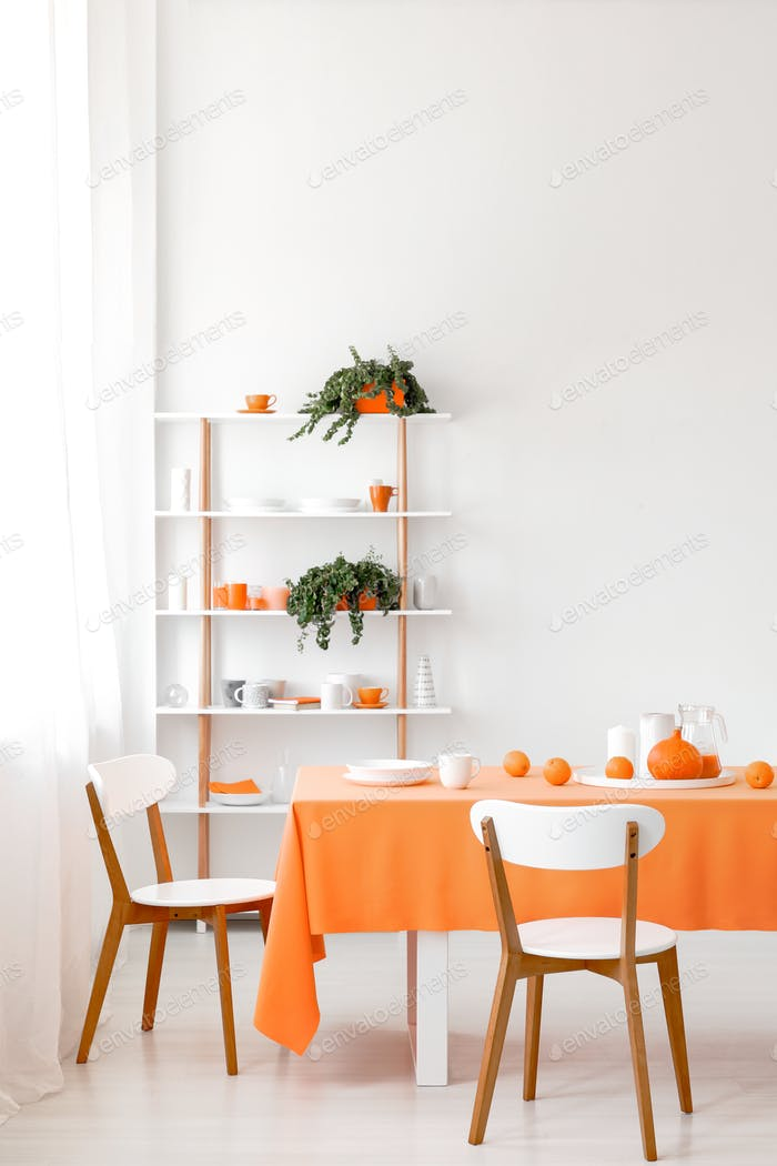 Real photo of white dining room interior with empty wall, rack w