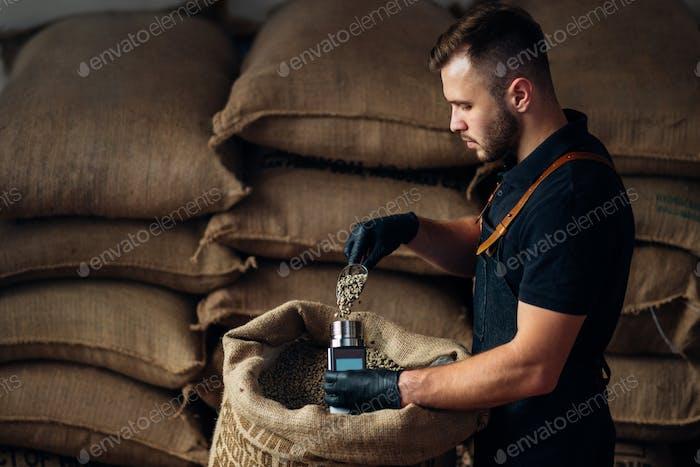 Arbeiter gießt eine Schaufel Kaffee in ein Gerät zur Messung der Feuchtigkeit aus einer Tasche