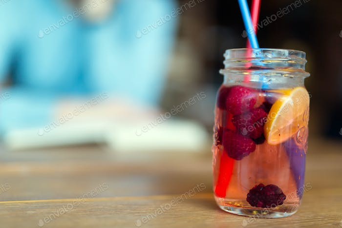 Picture of fruit drink made from rasberry and lemon