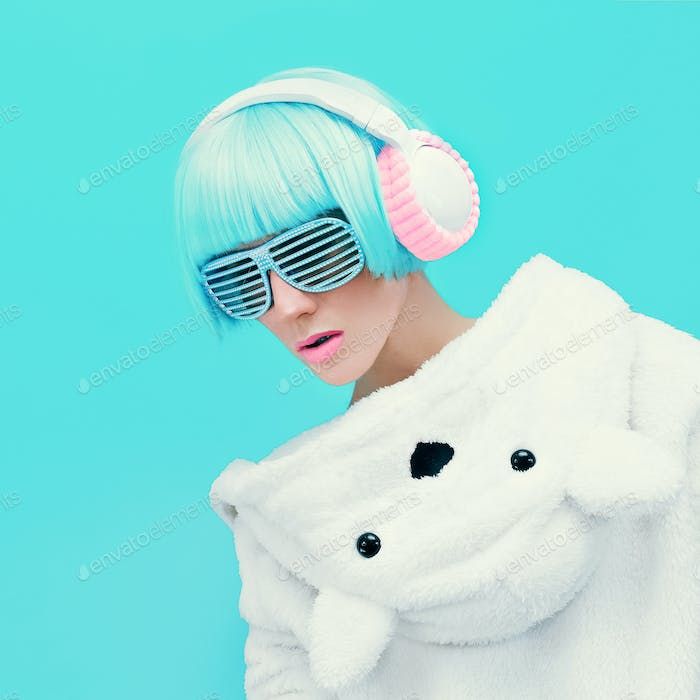 Teddy Bear Girl DJ on a blue background. crazy party. Club dance