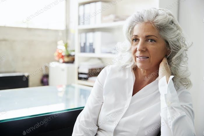 Portrait of a professional senior white woman in her office