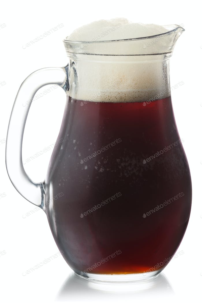 Root beer pitcher isolated, paths