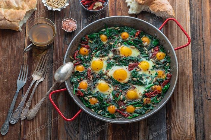 Ispanak yumurta or turkish fried egg with spinach