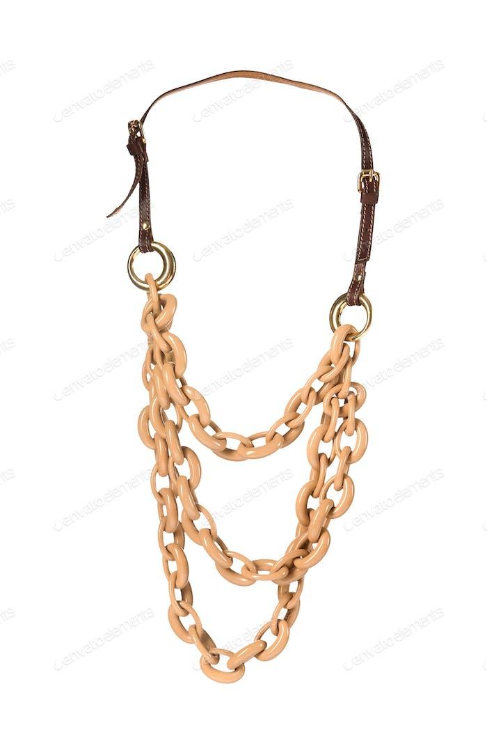 Brown big links chains collar