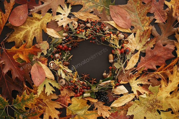 Autumn Wreath Flat Lay. Fall leaves circle