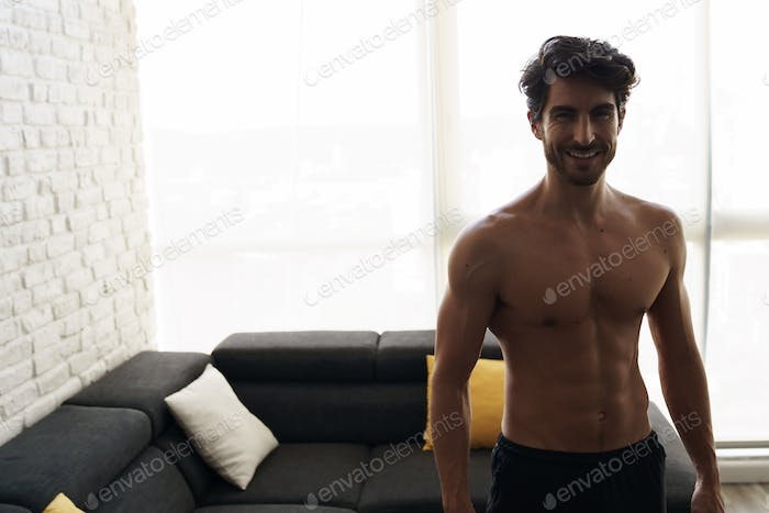 Portrait of a Muscular Fit White Shirtless Man Smiling