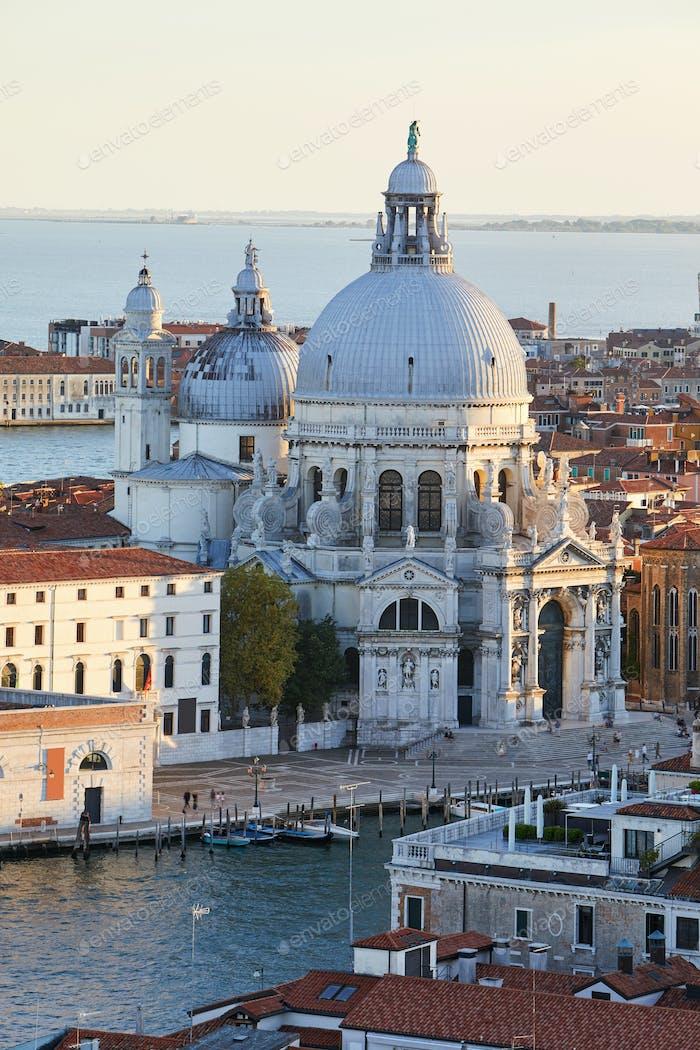 Santa Maria della Salute church elevated view  in Venice before sunset