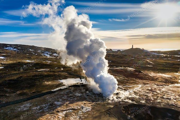 Gunnuhver geothermisches Gebiet bei Sonnenuntergang, Reykjanes Halbinsel, Island