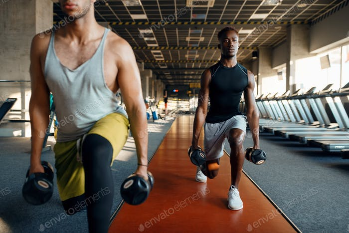 Two male persons doing exercise with dumbbells