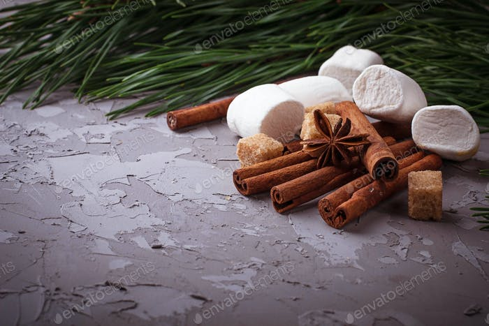 Winter background with cinnamon, sugar and marshmallow
