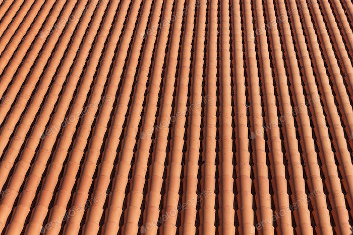 Traditional red clay roof tiles background