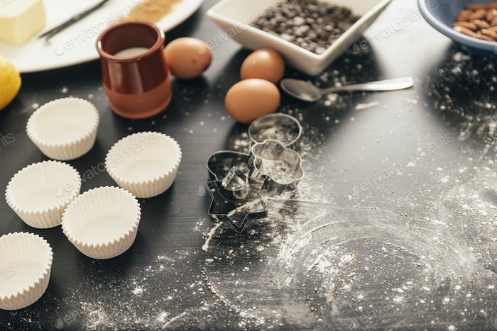 Background -  Preparing Cookies And Muffins.