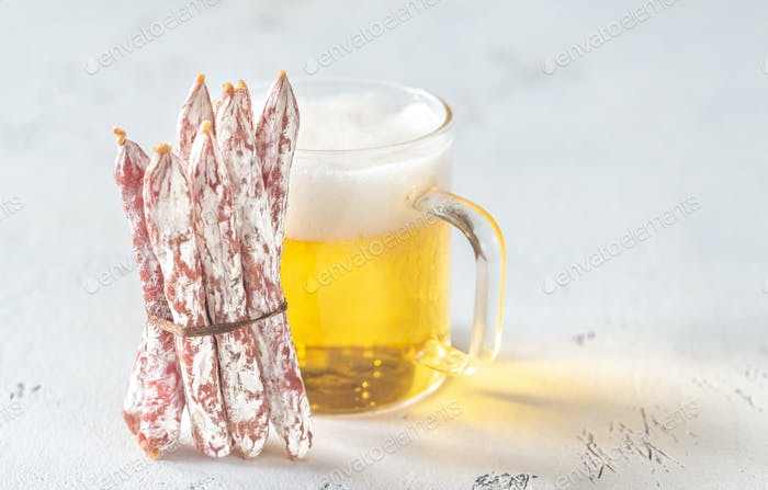 Snack fuet sausages with beer