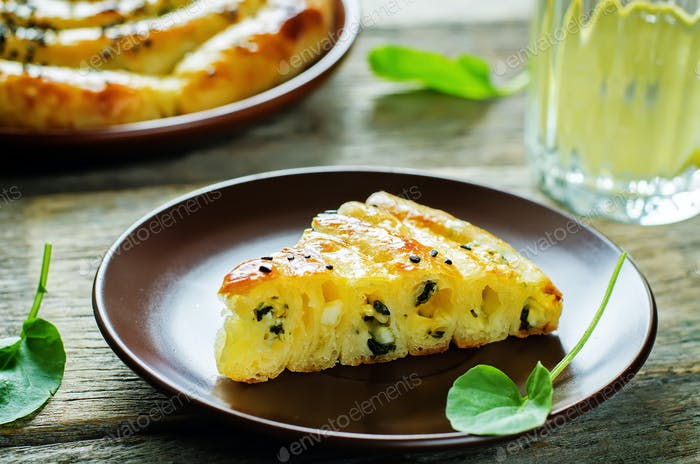 pie with cheese and spinach