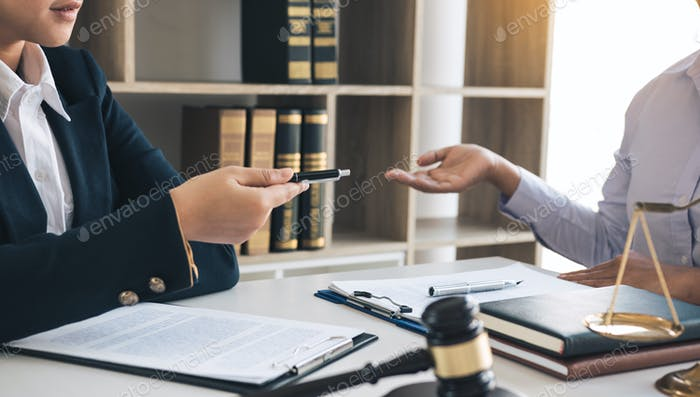 Lawyer is giving advice to clients