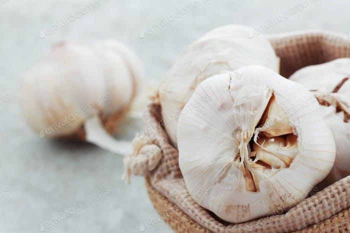 Garlic in a sack.