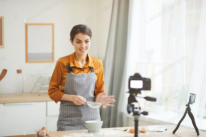 Beautiful Woman Filming Baking Video